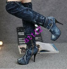 Womens High Heel Stiletto Over Knee High Boot Denim Side Zip Sexy Party Shoes