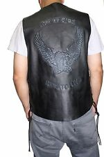 Men's Genuine Black Leather Soft Heavy Motorcycle Biker Vest Style Ride to Live
