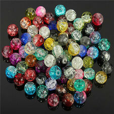 Wholesale 8/10/12mm Round Clear Crackle Crystal Glass Bead Jewelry Crafts DIY