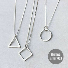 Geometric Triangle Round Diamond shape pendant&necklace real sterling silver925
