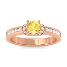 Yellow Sapphire Channel Natural Diamonds Engagement Ring Women 18K Rose Gold