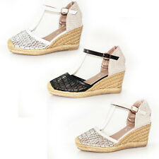 WOMENS LADIES PLATFORM WEDGE HEEL ANKLE STRAP ESPADRILLES SHOES SANDALS SIZE 3-8