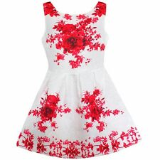 New Girls Dress Red Flower Print Party Pageant Birthday Child Clothes Size 6-12