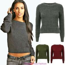 Womens Cable Knit Ladies Ribbed Pullover Knitwear Sweater Plain Crop Jumper Top