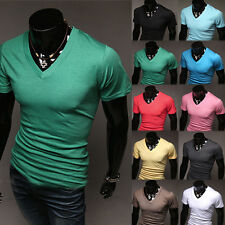 Fashion Men's T-Shirt Base Shirts Tee Tops Slim Fit Short Sleeve V-Neck Casual