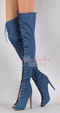 Fashion Women Over the Knee Boots Peep Toe Lace Long Boots Blue Denim Handmade