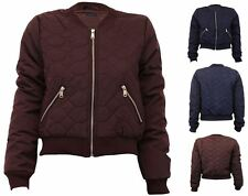 Womens Quilted Bomber Winter Plain MA1 Vintage Jacket
