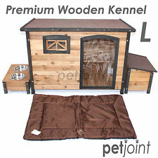 L 116x79x82cm Wooden Pet Dog Kennel House Flat Roof Large Timber Wood Outdoor