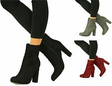 Womens Closed Block Heel Shoes Boots Ankle Zip  Suede Side High Faux Sizes 3-8