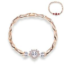 "New 18K Gold Filled Heart Garnet Rhinestone CZ Charm Party Bracelet 7.5"" Gift"