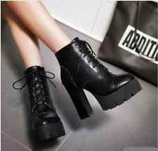 Punk Black Womens Block High Platform Chunky Heels Lace Up Prom Goth Shoe Size