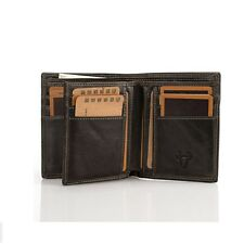 Mens Womens Genuine Leather Wallet Cowhide Trifold 16 Card Slots Clutch Billfold