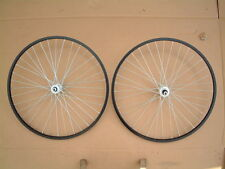 PAIR OF 26 in  ALLOY MOUNTAIN BIKE WHEELS BLACK RIMS WITH 6 OR 7 SPEED FREEWHEEL