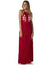 New Living Doll Women's Scarlett Womens Embroidered Maxi Dress Womens Robe Red
