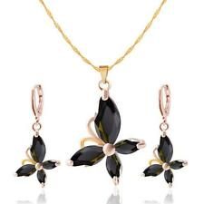 Jewelry Sets Elegant Floral Pendant Necklace & Delicate Crystal Earrings Sets