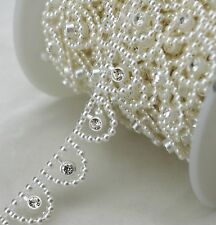 15mm Ivory Pearl and Rhinestone Sewing Trims Applique Wedding Decoration LZ109