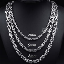 MEN'S BOY'S 5/6/8MM Silver Tone Stainless Steel Byzantine Link Chain Necklace