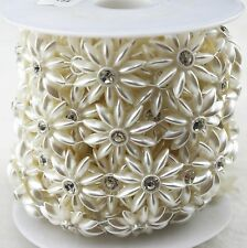 26mm Ivory Pearl And Clear Rhinestone Chain Trims Sewing Costume Applique LZ115