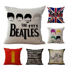 1X Cotton Linen Square Cushion Cover The Beatles Pattern Pillow Case For Sofa