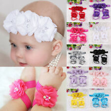 Baby Beautiful Foot Flower Barefoot Sandals Shoes Girls Infant Toddler Headband