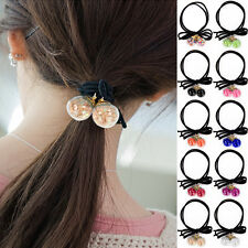 Double Round Balls Ponytail Rubber Band Holder Ribbon Bow Hair Rope Stretch US