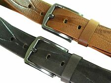 Genuine leather belt full grain wide casual formal men Black & Tan River strap