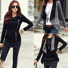 New Fashion Womens Casual Oblique zipper Jackets Sweatshirt Pullover Coat Tops