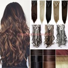 Women Clip In On Hair Extensions Long Straight Full Head As Human Remy HairPiece