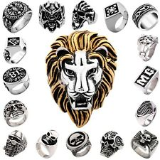 316L Stainless Steel Jewelry Mens Silver Cool Motorcyle Biker Rings US Size 7-15