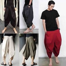Men Linen Red Gray Grey Green Black Loose Baggy Drop Crotch Harem Pants Trousers