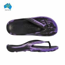 Aussie Soles Starfish Thongs Black and Purple