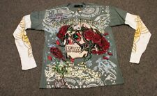 Christian Audigier Men's Skull Roses Double Sleeve Long T-Shirt Stones Olive