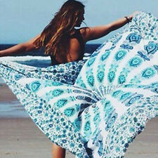 Women's Boho Mandala Round Hippy Peacock Feather Print Swimwear Cover Up Natural