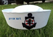 New White Sailor Navy Hat Cap with Anchor for Fancy Dress