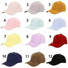 Women Men Leather Suede Fitted Baseball Hat Adjustable Plain Sports Cap Visors
