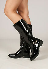 New Womens Patent Buckle Strap Black  Mid Calf Boot
