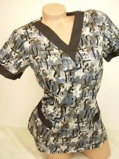New Women Nursing Scrubs Blue Gray Camouflage Poly/Cotton Top Size XS S M L XL