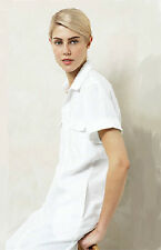 NWT $179 COUNTRY ROAD Trenery Pure LINEN Utiliy Shirt Dress with Belt WHITE PINK