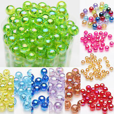 50/100Pcs Acrylic Round Plated AB Loose Spacer Beads Jewelry Finding DIY 8mm