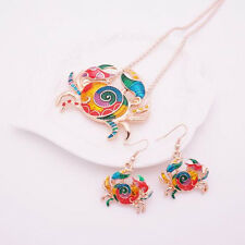 Colorful Jewelry Sets Gift Necklace Earring Silver Plated Crab 1 sets