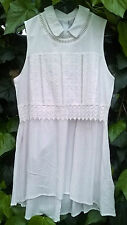 Lee Cooper BOHO White Cotton Layered Top Tunic Dress Sizes  8 10 14  BRAND NEW