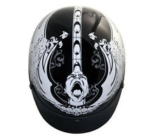 DOT Outlaw Gloss Black Screamer Half Face Motorcycle Helmet S - XL