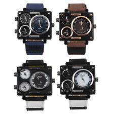 OULM 3 Time Zone Square Military Movement Men's Quartz Wrist Watch