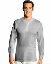 Hanes 25445 Mens X-Temp Thermal Longsleeve Henley Top - Extended SZs