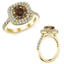 3.50 Ct Champagne Cognac Color Diamond Cushion Double Halo Ring 14K Yellow Gold