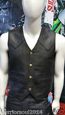 REAL COWHIDE MILLED NAPPA MOTORCYCLE/MOTORBIKE LEATHER CLIMAX LINED BIKER VESTS