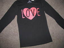 BNWT GIRLS BLACK LONG SLEEVED TSHIRT SIZE 10 TOP LOVE SPARKLY HEART