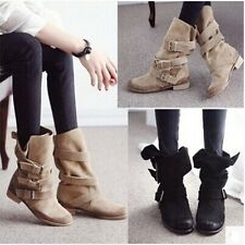 Women Retro Riding Ankle Boots Biker Style Leather Low Flat Heel buckle Shoes