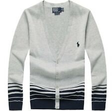 2016 new polo men's long-sleeved cardigan sweater cotton sweater(blue grey)