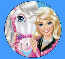 Barbie & Horse Edible Cake & Cupcake Toppers Wafer or Icing Round Rectangle
